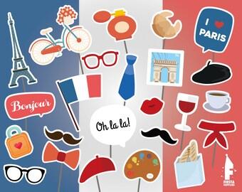 Printable I love Paris Props - Paris photo booth Props - Birthday Printable Props - Birthday Party - Paris  Party - I love Paris - Wedding