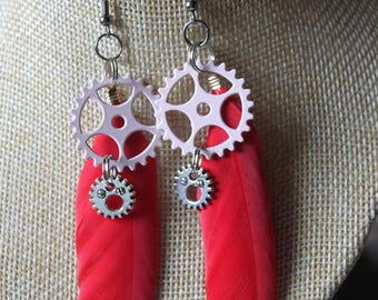 "steampunk gears ""6"" with feather earrings"