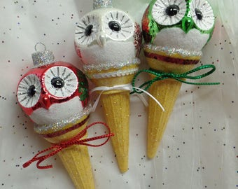 Owl Christmas Ornament. Owl Ice Cream Cone. Owl Ice Cream Ornament.