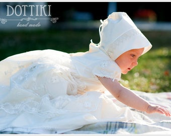 Silk and Lace Christening Gown, Baptism Dress, Baptism Gown, Christening Silk Dress, Baby Girl Christening Dress, White, Ivory, Cream