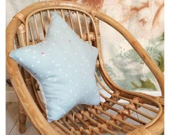 Celadon blue geometric star cushion