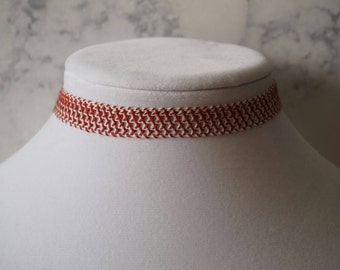 Burgundy and white crocheted choker necklace