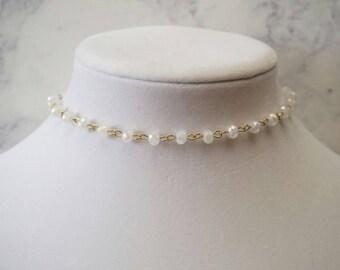 White Beaded Choker Necklace