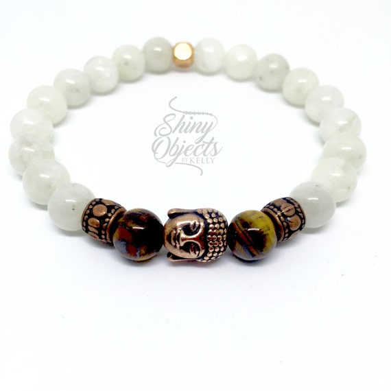 Moonstone and Tiger Eye Buddha Bracelet
