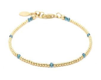 London Blue Topaz bracelet, gold beaded bracelet.