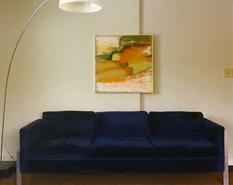 Milo Baughman for Directional Blue Velvet Sofa
