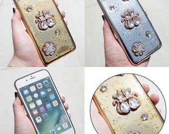 Metallic Star Glitter Kitty Flower Rhinestone Bling iPhone 5/6/6 Plus/7/7 Plus Case