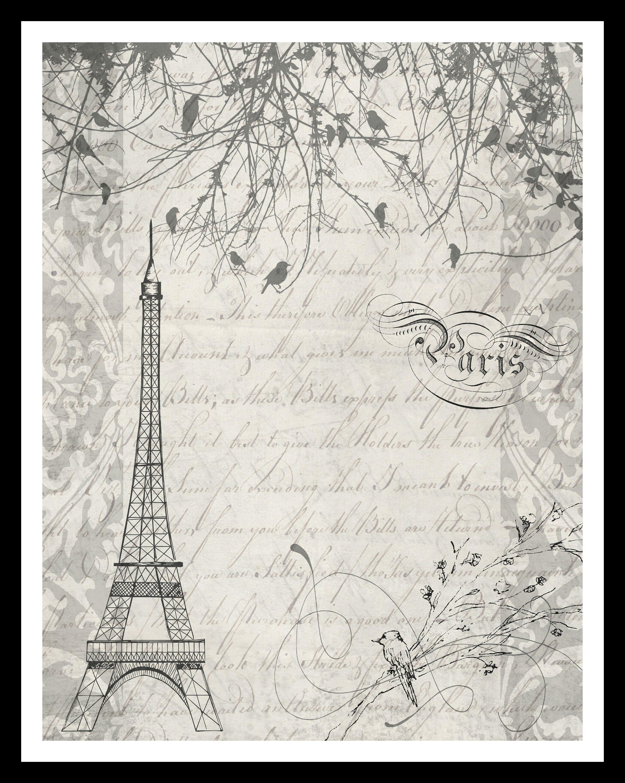 Scrapbook paper eiffel tower - Printable Journal Page Digital Paper Scrapbooking Craft Eiffel Tower Paris Birds Script Wall Art Digital Collage Sheet Jpeg
