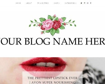 Pre Made Simple Rose Blog Header - Digital - Custom - Blogger - Wordpress