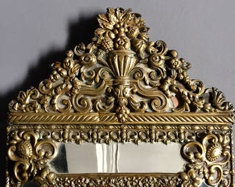 Antique French Boudoir Mirror, An Exquisite and Ornate Gilded Frame with Beveled Glass Mirror, 19th Century