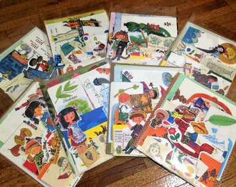 Collage and Scrapbook Kit of Random 35 pcs from Vintage children's books