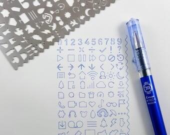 Icon Stencil, Hobonichi Stencil, Planner Stencil, Metal Stencil, Filofax Stencil, Bullet Journal Stencil