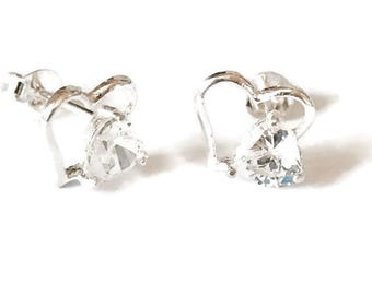 Sterling Silver Heart and Heart Cubic Zirconia Stud Handmade Earrings