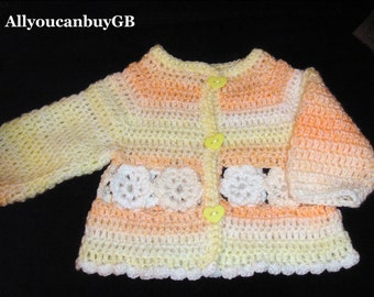 Hand Crochet Baby cardigan (6-9 months.) Acrylic cardigan for baby. Handmade baby sweater.