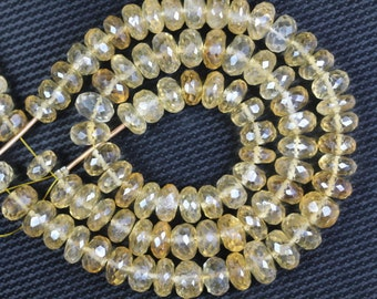 50 piece faceted CITRINE rondelle beads 4 x 8 -- 5 x 9 mm approx