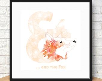And the Fox, Printable art, Modern Decor, Animal Print, Fox Print, Digital Print