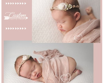 Prim and Co. Newborn Headband & Wrap Set, Newborn Photo Props, Baby Wrap with Matching Handmade Headband, Photography Props, Baby Props