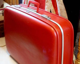 SOLD Fire Engine Red Large Early 70s Suitcase By Crown
