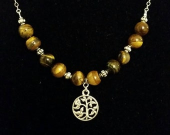 Tiger's eye-Harmonizing Set -Earrings and Necklace- Healing Crystals- Sterling  Silver Jewerly- Natural Stones- Gemstones