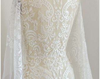Wedding Lace, soft embroidered bridal lace Fabric, off-white Lace, Alencon Lace, ornament lace fabric, Guipure Lace - (CLF156261)