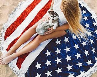 Patriotic USA Flag Stars and Stripes round towel beach blanket pinic blanket roundie fringe