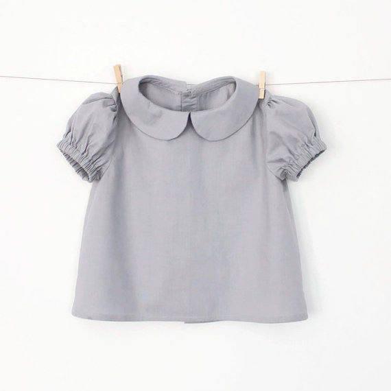 Girls peter pan collar blouse with puff sleeves pattern pdf for Peter pan shirt pattern