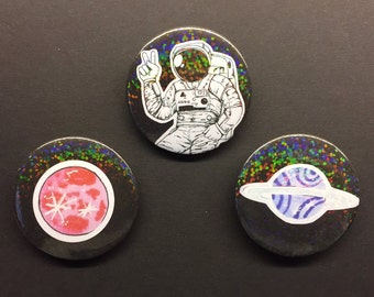 50% OFF SALE Space themed badges