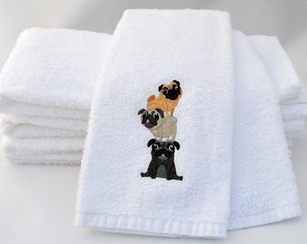 Pug lover, pug towel, pug gift, pug lover gift, pet gift for him, pet gift for her, dog towel, dog tea towel, housewarming gift