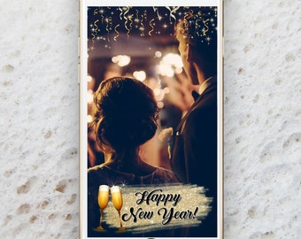 New Years Eve Geofilter, NYE Geofilter, Confetti and Firecrackers, Instant Download, GeoFilter,Custom Geofilter, Glitter Wedding Geofilter