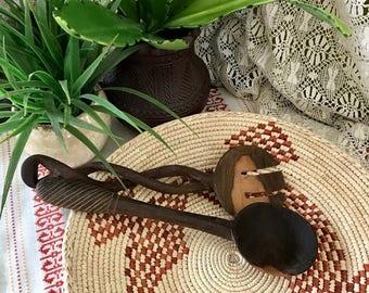 Vintage  Hand Carved AFRICAN SALAD SERVER  / Kenyan Carved Wooden Serving Set  / Bohemian Kitchen Gypsy Kitchen Decor