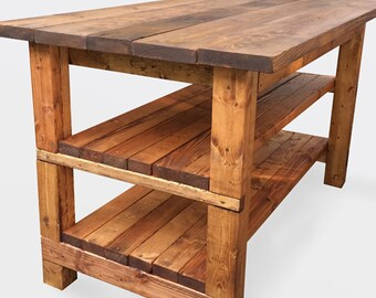 Rustic Wooden Kitchen Island