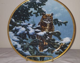"ON SALE, 1986 Spode Noble Owls of America ""Winter Vigil"" Collector Plate by John Seerey-Lester, decorative plate, owl plate, Collectible"