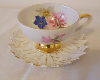ON SALE, German Demitasse, Espresso Cup, Coffee Cup, Antique Cup, Small Cup, vintage teacup, antique teacup, Bavarian Porcelain, Flower Cup