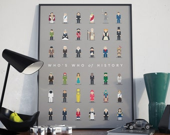 Who's Who of History. Guess Famous Faces from History. Poster Print Wall Art Home Décor
