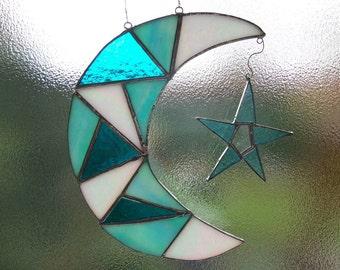 Stained glass Moon and Star suncatcher sun catcher Crescent moon lunar gift
