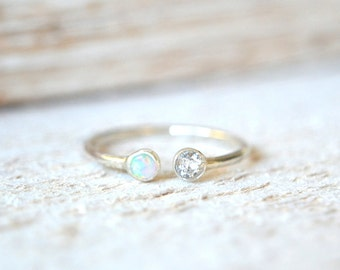 Personalized Ring. Dual Gemstone Ring, Dainty Ring, Two Stone Ring, Mothers Ring, Gemstone Ring, Double Gemstone Ring, Stone Ring