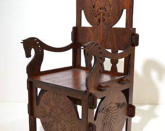 Throne Viking rare brutal for dolls 16 inch Tonner BJD Furniture 1/4 wooden OOAK