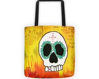 Love Tote, Sugar Skull Tote Bag, Day of the Dead, Dia de los Muertos