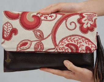 Leather clutch bag, Fold over clutch purse, Fabric fold over purse, Women's bag, night out bag, Brown leather purse, Fabric handbag