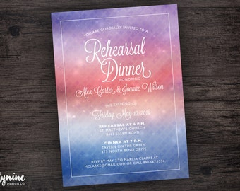 Wedding Rehearsal & Rehearsal Dinner Invitation with Romantic Sunset Watercolor Gradient Background