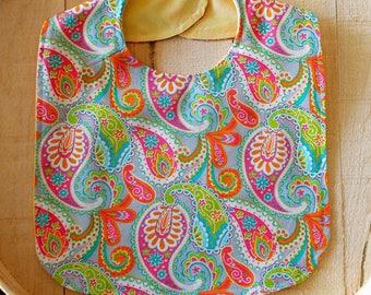 Pink Orange Turquoise Paisley Print Baby Bib