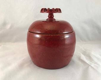 Deep Red Lidded Stash Jar - Funky Knob