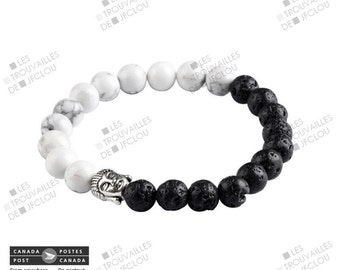 Bracelet stainless half Pierred of lavas Buddha head