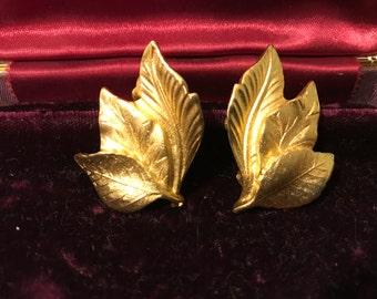 Three Leaves Fan, Goldtone Clip-on Earrings