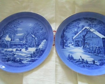 Currier & Ives Old Homestead 4 Piece Plate Collection Winter Scenes Collector Plates Blue and White Homestead Farm Barn