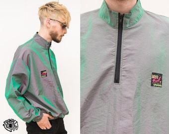 Vintage 1990s Metallic Green Wind-cheater Jacket