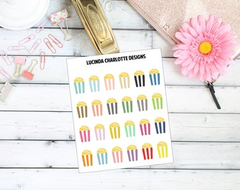 Popcorn Movie Night Cinema - Planner Stickers