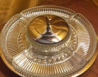 Vintage Kromex Lazy Susan Serving Tray, Wedding Holiday Serving Tray, Chrome And Crystal Oscillating Tray Party Platter