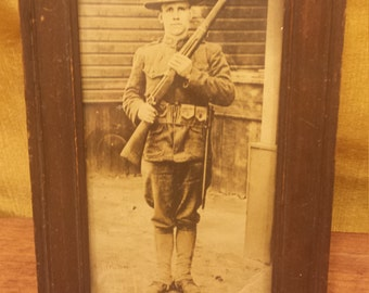 Vintage Framed Picture OF World War 1 Doughboy Soldier, WWI Decor, World War I Small Framed Photo, Black and White Photography, Old Photo