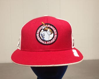 Vintage 90's Negro League Wool Baseball Cap Fitted Dad Hat 7 3/4 Red MLB Old Teams Throwback